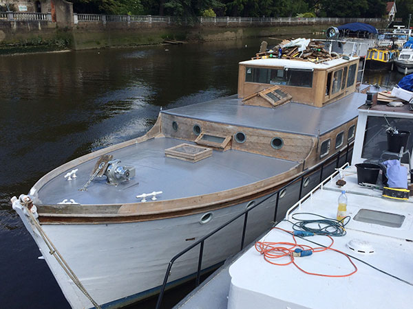 GRP roofing on a boat London